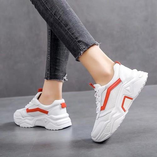 Giày nữ đẹp hàn quốc bao chất 2 màu kẻ đen, kẻ đỏ mã fs36