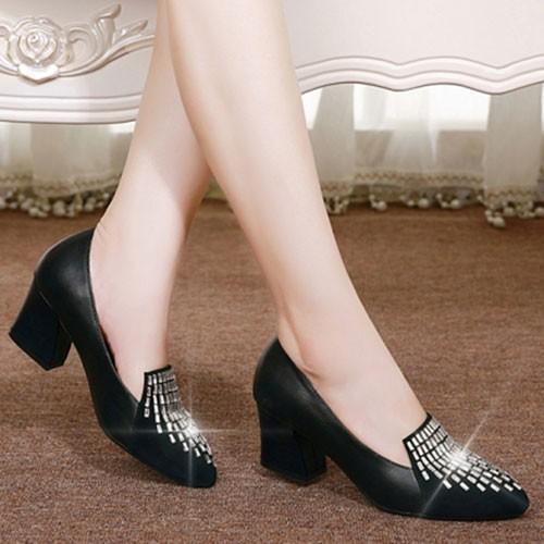 Giày da gót vuông đính đá giọt nước cao cấp kt