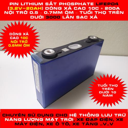 Pin lithium sắt phosphate lifepo4 3.2v 20ah mới tinh dòng xả 200a