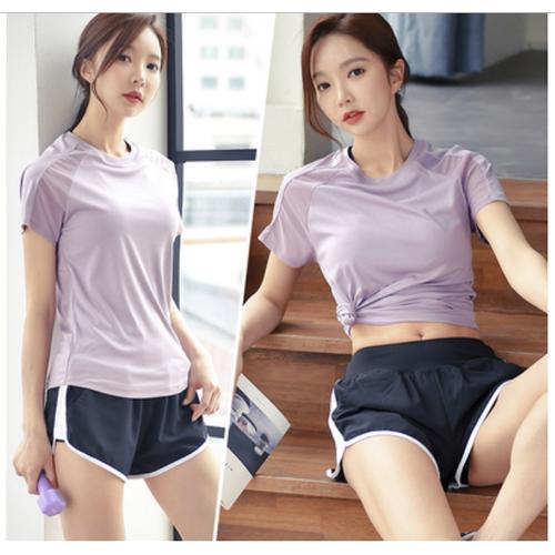 Bộ đồ thể thao áo ngắn tay phối lươi + quần short kiểu dáng xinh xắn
