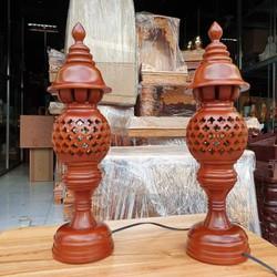 Cặp đèn thờ gỗ xà cừ cao 36 cm loại 1 rất đẹp
