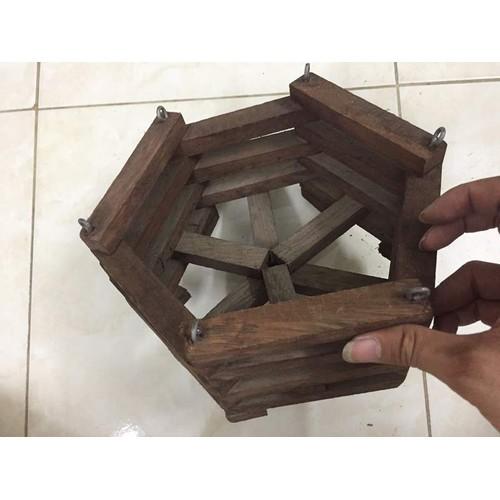 Chậu gỗ trồng lan lục giác - 22 cm