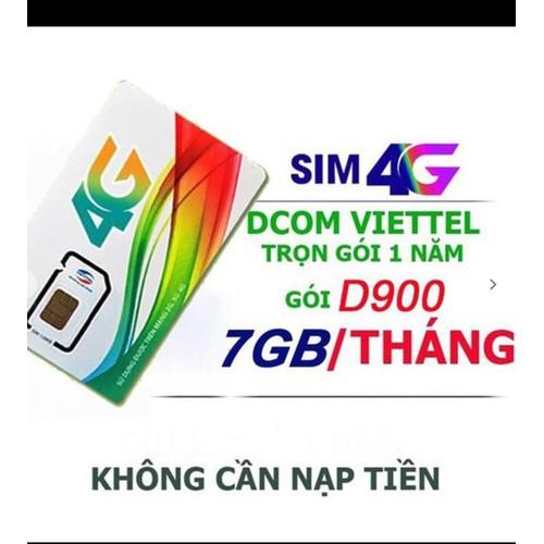 Sim 4g viettel d900 7gb tháng - miễn phí 12 tháng không cần nạp tiền