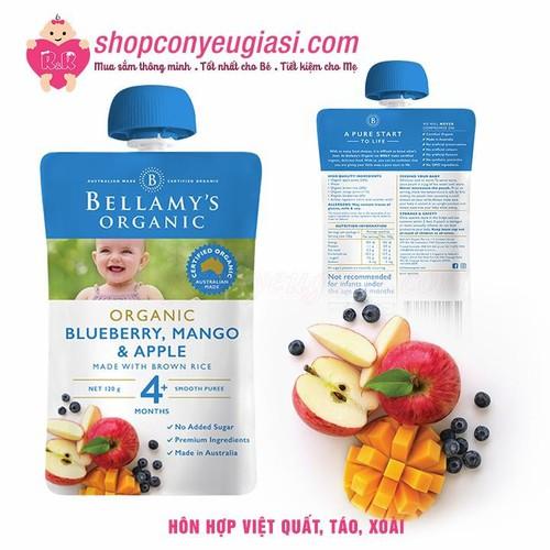 Hỗn hợp việt quất, quế, táo hữu cơ xay nhuyễn bellamy organic