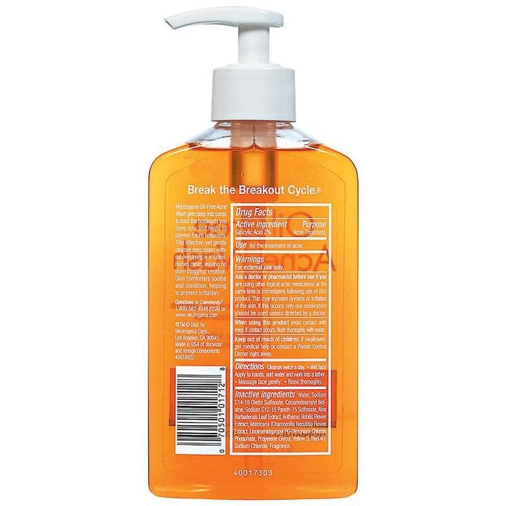 Sữa Rữa Mặt Neutrogena Oil Free Acne Wash (177ml) - 100% Authentic