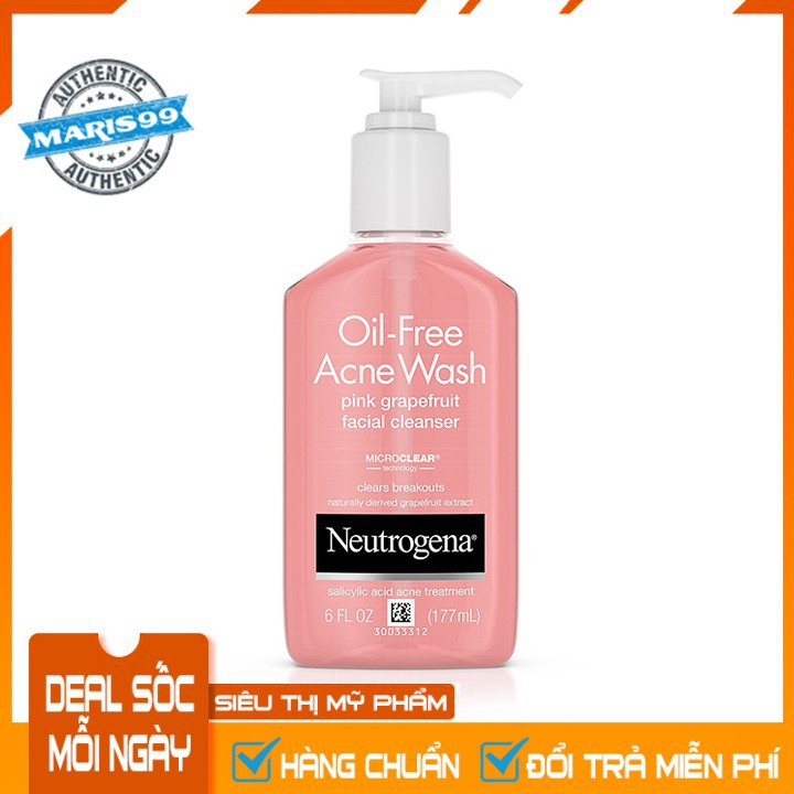 Sữa Rửa Mặt Neutrogena Oil Free Acne Wash Pink Grapefruit Facial Cleanser (177ml) - 100% Authentic