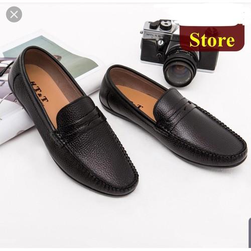 [Bảo hành 1 năm]giày lười nam da bò, đế cao su, khâu chắc chắn