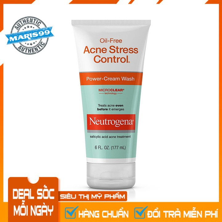 Sữa Rửa Mặt Neutrogena Oil Free Acne Stress Control Power Cream (177ml) - 100% Authentic