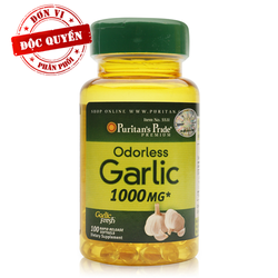 Viên uống chống cảm cúm Tỏi không mùi Odorless Garlic 1000 mg 100 viên của Puritan Pride