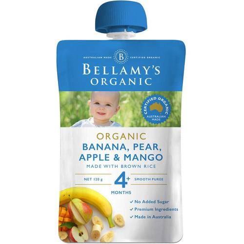 Hỗn hợp chuối, táo, yến mạch hữu cơ bellamy organic