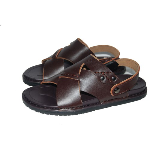 Sandal nam da bò thật. bảo hành 12 tháng. ms: sd28