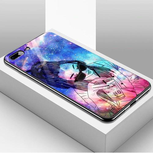 Ốp điện thoại kính cường lực cho máy iPhone 7 Plus  -  8 Plus - Phía sau một cô gái MS PS1CG021