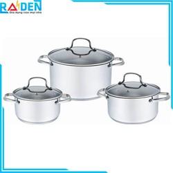 Bộ 3 nồi inox 304, đáy 5 lớp Elmich Smartcook SM-3330 size 18 - 20 - 24cm sử dụng được trên bếp từ