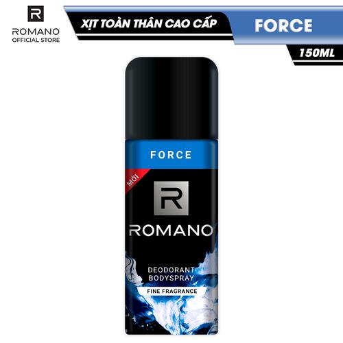Xịt toàn thân cao cấp romano force mạnh mẽ tự tin ngăn mồ hôi & mùi cơ thể 150ml - 13086581 , 21133599 , 15_21133599 , 90000 , Xit-toan-than-cao-cap-romano-force-manh-me-tu-tin-ngan-mo-hoi-mui-co-the-150ml-15_21133599 , sendo.vn , Xịt toàn thân cao cấp romano force mạnh mẽ tự tin ngăn mồ hôi & mùi cơ thể 150ml