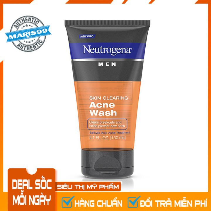 Sữa Rửa Mặt Cho Nam Neutrogena Men Skin Clearing Acne Wash (150ml) - 100% Authentic