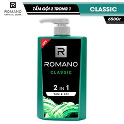Tắm gội 2 trong 1 Romano Clasic Cổ Điển Lịch Lãm Phiên Bản Deluxe Nhanh Chóng Tiện Dụng 650gr