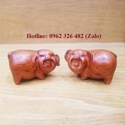 Linh vật tượng con heo gỗ hương - Linh vật tượng con lợn gỗ hương