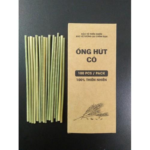 Ống Hút Cỏ Bàng - Hộp 100 ống - Grass Drinking Straws