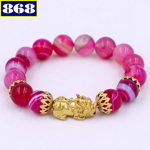 Vòng tay thạch anh hồng sọc 12 ly vtahsthbkv12
