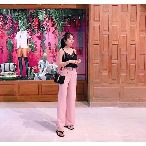 Sét áo phi ren quần tây suông hồng duyên dáng dl381