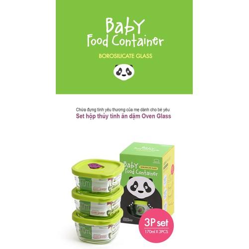 Bộ 3 hộp bảo quản thực phẩm dành cho bé LocknLock LLG161S3 Gấu trúc