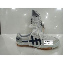 KHUYẾN MÃI - Giày bata vải Asia chính hãng cột dây màu trắng sọc xanh