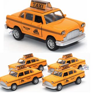 Xe mô hình ô tô taxi mini màu vàng tỉ lệ 1 36 bắng sắt chạy cót có âm thanh và đèn mở cửa - TAXI9 thumbnail