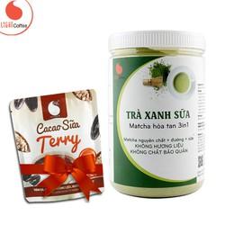 Bột trà xanh sữa, sử dụng matcha Nhật thơm ngon, tiện lợi Hũ 550g - Tặng Cacao sữa Terry gói 50g - Light coffee