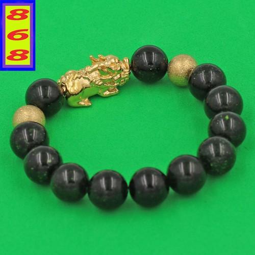 Chuỗi đeo tay Đá Lục Sa 12 ly - cẩn Tỳ Hưu Phong Thủy inox vàng VLUSTHHBV12