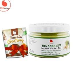 Bột trà xanh sữa thơm ngon, tiện lợi từ nhà sản xuất Light coffee hũ 230g - Tặng Cacao dừa CocoTerry 50g