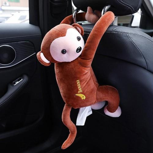 Hộp đựng khăn giấy sáng tạo hình chú khỉ nâu - nội thất xe ô tô