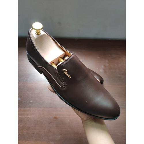 [Siêu khuyến mãi] giày da nam không dây nâu đỏ sậm kiểu châu âu