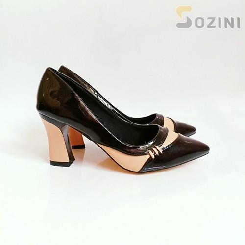 Giày cao gót 7cm phối màu điệu đà