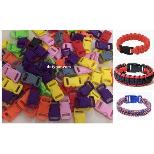 Gói 100 khóa nhựa đan vòng paracord đủ màu
