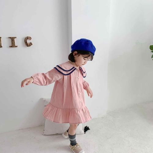 Đầm babydoll hồng cổ sen cho bé gái