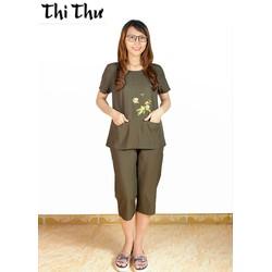 Đồ bộ quần lửng ngắn tay Thi Thư màu xanh rêu BL07-3