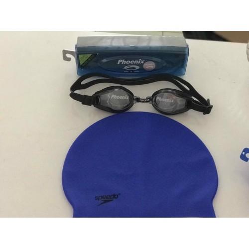 Bộ combo kính bơi với nón