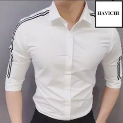 áo sơ mi trắng nam viền đen cánh tay