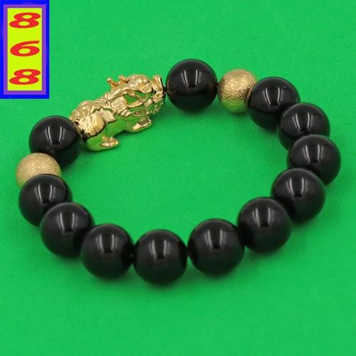 Vòng tay thạch anh đen 12 ly - vòng tay tỳ hưu phong thủy inox vàng vtaethhbv12 - hợp mệnh thủy, mệnh mộc