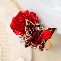 nhẫn hoa đính cườm thời trang cao cấp