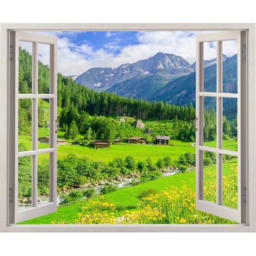 Tranh dán tường cửa sổ tl thung lũng hoa vàng cs-0077 kt 120 x 100 cm