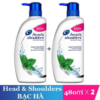 dầu gội- 2 Dầu gội đầu ngăn gàu Head Shoulder - 2 HEAD BẠC HÀ 450ml chai. thumbnail