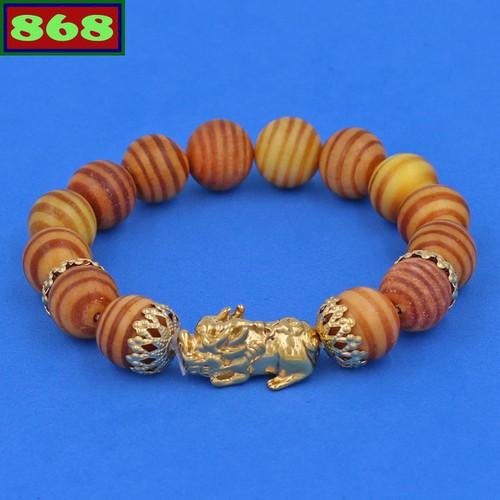 Chuỗi đeo tay gỗ huyết rồng 12 ly tỳ hưu inox vàng vghrthbkv12