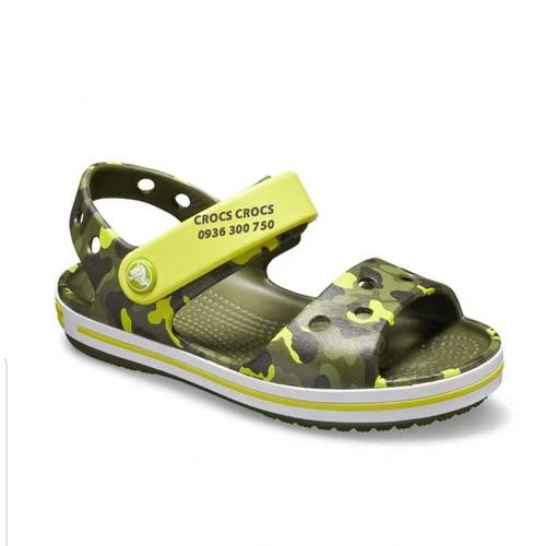 Dép sandal nhựa đi mưa croc.s band camo trẻ em