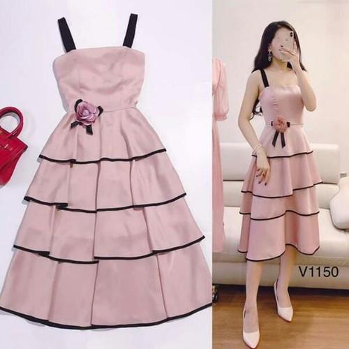 Váy thiết kế cao cấp v1150 - dvc kèm ảnh thật trải sàn do shop tự chụp