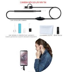 Camera nội soi lấy ráy tai có đèn led, hỗ trợ smartphone android và máy tính, có 3 đầu kết nối USB, mUSB và Type C