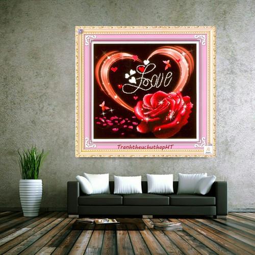 Tranh thêu chữ thập hoa hồng nghệ thuật d1200 - tự thêu