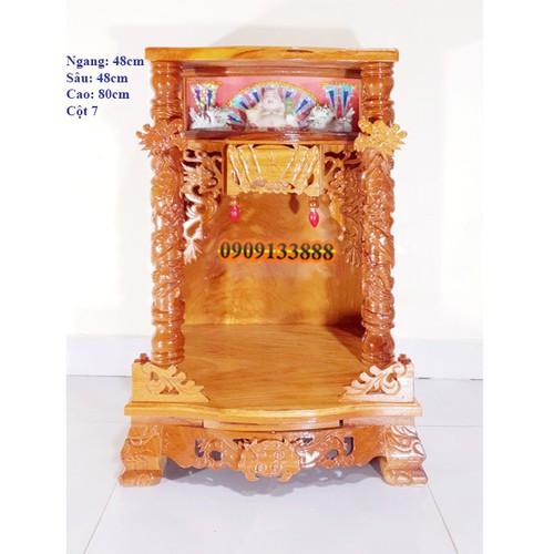Bàn thờ thần tài ông địa gỗ gõ đỏ ngang 48cm quỳ trụ  hộp đèn cột 7cm