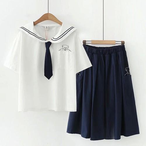 Áo kiểu thủy thủ nữ thêu gấu 794