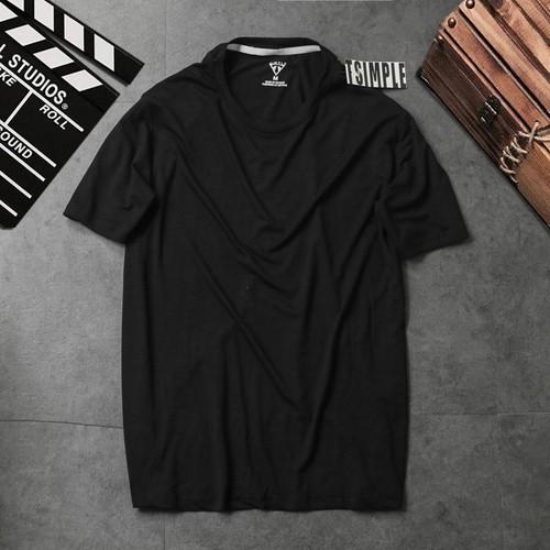 Áo thun nam cổ tròn - áo phông nam cotton trơn t-simple đen
